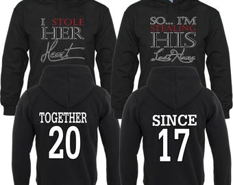 I Stole Her Heart So Im Stealing His Last NameTogether Since Couple Matching Hoodies Pull Over
