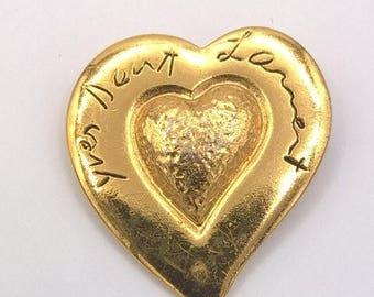 Brooch gold plated Yves Saint Laurent, Paris Luxury France, Paris Vintage Badge, brooch Vintage gold tone metal Saint Laurent gift, Valentine's day