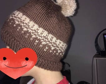 Hand knitted pompom Beanie