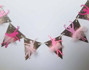 Glitter and tulle ballerina banner, gold and pink garland, ballerina paper banner, ballerina birthday banner