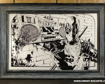 Deadpool with Boombox Print