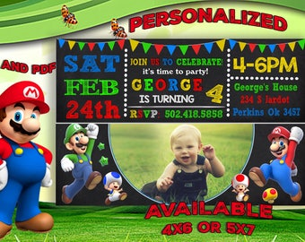 Super Mario Invitation, Super Mario Birthday Invitation, Super Mario Party, Super Mario Birthday, Super Mario Invite, Super Mario Card