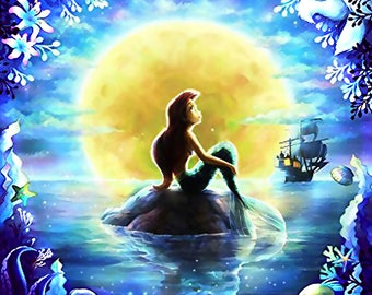 Mermaid Princess Cartoon Diamond Painting full Square Diamond Embroidery Kits Pictures of Crystals Home Deocr