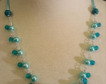 Necklace cord, glass beads