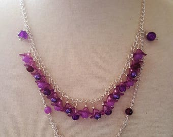 silver plated necklace chain and glass beads