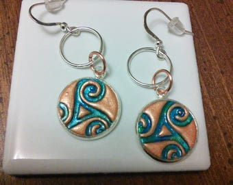 Copper polymer rings and swirl...Celtic influence