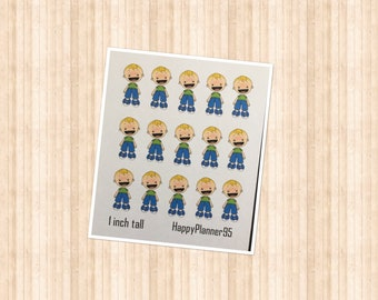 1 inch blonde boy stickers