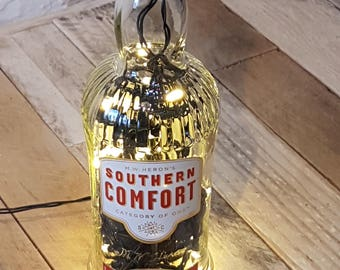 Upcycled Southern Comfort Bottle as LED Light