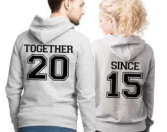 His and Her Together Since Grey Hoodies set with custom number on the back