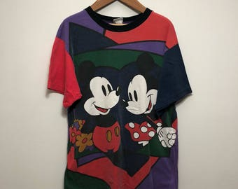Vintage Disney Color Block Mickey & Minnie Shirt
