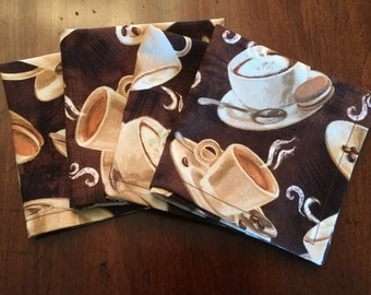 Coffee Themed Cloth Cocktail Napkins, Set of 4
