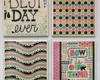 Best day ever- Motivational, Colorful, Futuristic Decorative Tile Coaster Set (Set of 4)