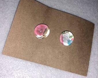 Floral Colorful Earrings- Marble Earrings- Handmade earrings