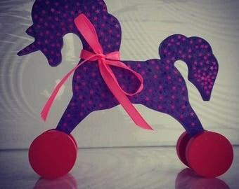 Wooden Unicorn on Wheels