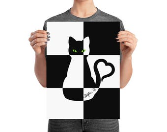 Black and White Heartcat on black and white block background