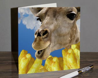 Giraffe Greeting Card - Fry In The Sky - Chip Shop Chips - FIT01
