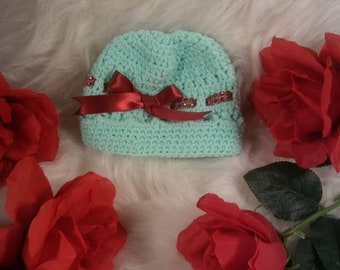 Beenie New Born Girl Crocheted Hat With Red Bling