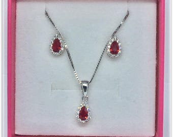 Complete sets earring necklace with zircons and Ruby stone Argento925% rhodium plated