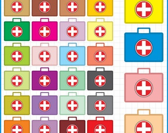 colorful First Aid Kit Clipart PNG