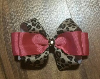 Pink And Leopard Hair Bow