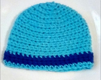 Turquoise Stripped Newborn Crochet Baby Beanie Stripped