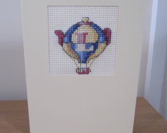 Cross Stitched Card with Letter L