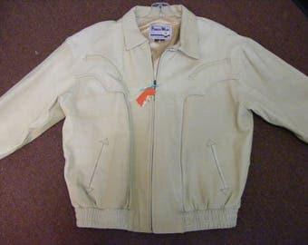 Vintage Pioneer Wear Cream colored leather western jacket