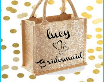 Large gold shimmer jute bag with personalised text and design for wedding party, bride, bridesmaid, shopper bag,