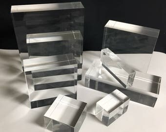 """Clear Lucite/acrylic Solid Block 4"""" W x 2"""" L x 2"""" T - Qty of 2"""