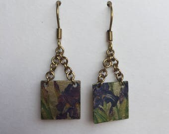 Square Earrings with Iris Imprint
