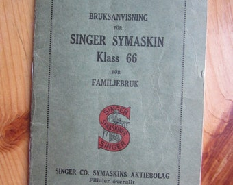 old SINGER sewing Machine Instruction - Manual from y 1931  on Swedish language