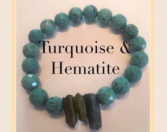 Turquoise & Hematite 10mm Bracelet