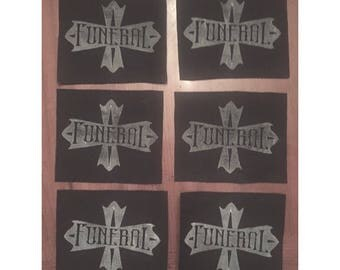 Funeral Flag ~ Hand-stamped Canvas Patch