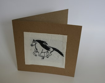 Machine Embroidered horse card