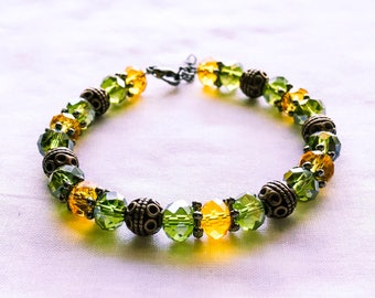 Olive yellow and copper beaded bracelet
