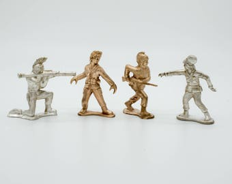 toy soldiers figures, US army with greek and roman heads, cast in ancient bronze and silver, set of 4 figurines, 2.5 in tall collectibles