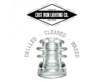Pre-Drilled Clear Glass Insulator for Pendant or DIY Lighting - Hemingray 56 - CD 203