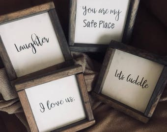 Set Of 4 ~ 7X7 Wood Frame Signs