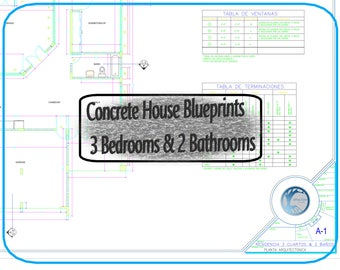 Casa de Concreto 3 Cuartos & 2 Baños (Set de Planos)