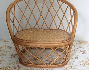 Vintage Cane Dolls Seat / Plant Stand
