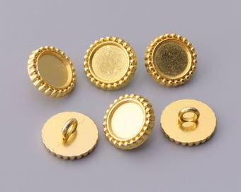 10pcs 11mm small shirt suit button one hole button round gold metal buttons