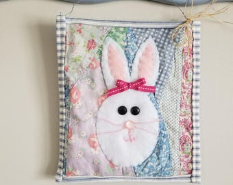 Bunny Wallhanging/Vintage Quilt/Repurposed Quilt