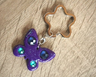Glitter Butterfly Keychain-purple from Fimo-polymer clay figures-lucky charm-Keychains