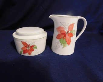Block Spal Portugal Water Colors  Poinsettia Creamer & Sugar Bowl 1982-1998