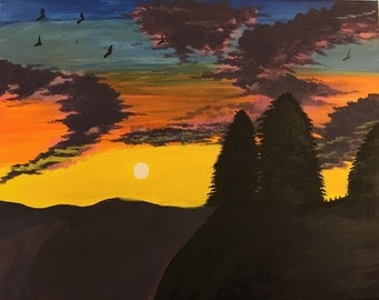 "Hand Painted Canvas Picture by Jan Stephens - ""Sunset"" - 16x20 - One Of A Kind  - Wall Art - Painting - Picture - Family"