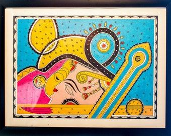 Madhubani Art on Canvas (Indian Folk Art)