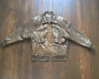 Split End Ltd Rugged Leather Jacket Scovill Small Bomber Jacket