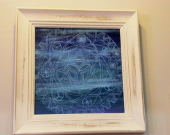 """Lost in the Depth - custom, hand painted, shades of blue mandala (18""""x18"""" distressed frame) wall decor"""