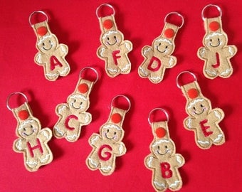 Embroidered A TO Z Ginger man personalised keyrings