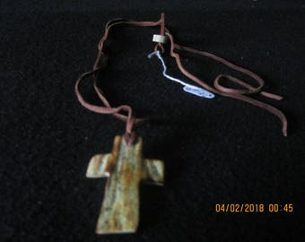 Natural Deer Leather Necklace With  Deer Antler Rugged Cross